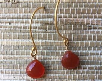 Carnelian briolettes earrings