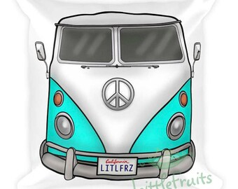 Volkswagen Camper Pillow - VW Accent Couch Cushion - Gift Idea for Car Lovers - Auto Home Decor - Turquoise VW Throw Pillow - VW Bedding