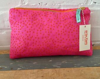 Orange on Pink Linen Polka Dot zipped make up bag, Ready To Ship Now