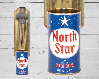North Star Bottle Opener with Vintage Beer Can Cap Catcher - Great Gift for Groomsmen or Housewarming