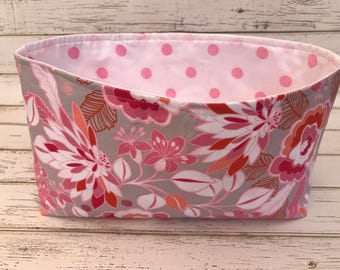 Organizer Storage Bin, Basket,Bin, Nursery Decor, Diaper Storage, Fabric Bin, Basket, Floral, Home Decor, Flowers, Pink, Peach, White, Gray