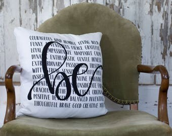 BE Pillow-Courageous Brave Kind Grateful - Feelings Pillow -Hand lettered Pillow - Pillow with Sayings - Gift - Throw Pillow - Quote Pillow