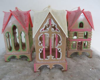 Vintage Plastic Cottage Christmas Ornaments Set of 3 Pink Tan Green Large House Decor