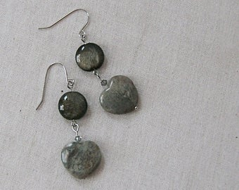 Ocean Jasper Gemstone Heart Earrings with Golden Obsidian Coins on Silver, Gray, Black, Silver