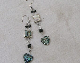 Abalone Shell and Blue Goldstone Heart Earrings -Sea of Love-Blue, Green, Silver, CLEARANCE