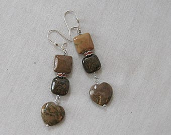 Ochre Ocean Jasper Heart Earrings with Bronzite on Silver, Ochre, Brown, Yellow, Silver