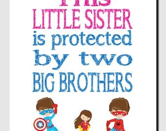 Little Sister Wall Art, Big Brothers, Superheroes, Girl Nursery Decor, Nursery Wall Art, Pink Blue, Childrens Room Art, Quote Art, Print