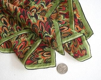 Early Vera Neumann scarf with feather motif. Silk Vera scarf, mid century scarf, brushwork scarf, chartreuse scarf, orange scarf, red scarf