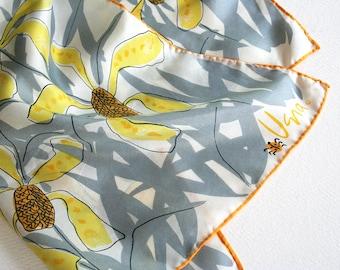 Vera Neumann floral all silk scarf. Silk Vera scarf, orchid scarf, brushwork scarf, yellow scarf, gray scarf, ladybug scarf, oblong scarf