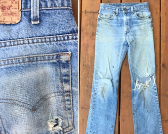 Vintage LEVIS 517 distressed and faded jeans / straight leg Levis / 29 x 30/ wallet fade
