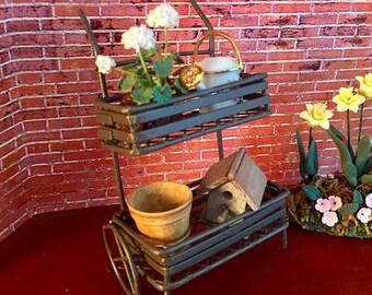 SALE Mini Wire Pull Cart, Rust Colored Garden Cart, Fairy Garden Accessory, Miniature Gardening, Home & Garden Decor, Mini Cart