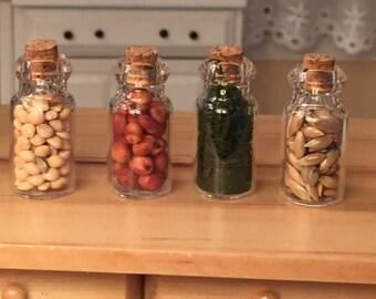 SALE Miniature Food Jars, Filled Glass Jars, Set of 4, Dollhouse Miniatures, 1:12 Scale, Miniature Food, Kitchen Accessory, Decor