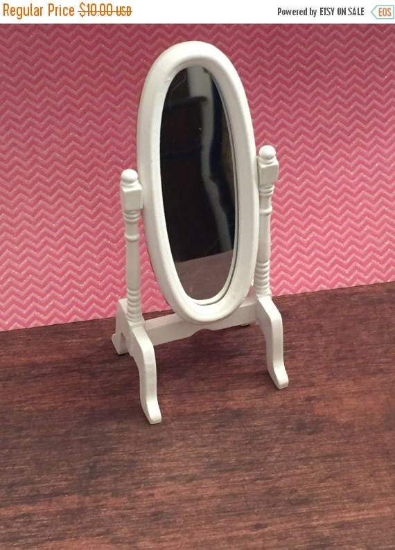 ON SALE Miniature White Mirror, Standing Dressing Room Cheval Mirror, Dollhouse Miniature, 1:12 Scale, Dollhouse Furniture, White Mini Mirro
