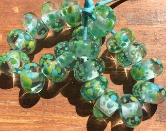 Aqua Fizz Frittie Lampwork Beads, SRA, UK Seller, UK Lampwork