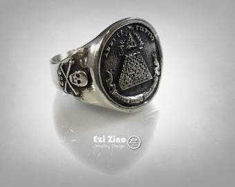 MASONIC SKULL Annuit Coeptis Ring New Sterling Silver 925