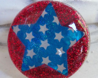 Ruby Red Glitter Turquoise Holographic Star Ring, 4th of July Resin Statement Ring, Red White & Blue Patriotic USA Ring, Glitter Fusion Ring
