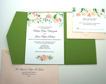Watercolor Floral Peach Pocketfold Garden Wedding Invitation with RSVP