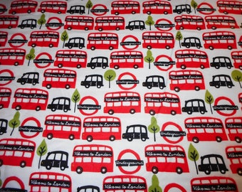 """Fabric Welcome to London Buses, Flannel, measures 31"""" by 44"""""""
