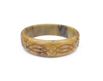 Bakelite Bangle Bracelet, Mississippi Mud, Deeply Carved, Bakelite Bangle, Bakelite Bracelet, Vintage Bracelet