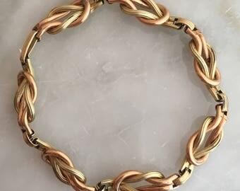 Vintage Fluted Goldfilled Knot Link Bracelet
