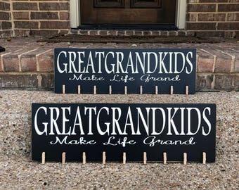 Great Grandparents Gift ~ Great Grandma Gift ~ Greatgrandkids Make Life Grand Custom Wood Sign ~ Great Grandparent Gift ~ Great Grandpa