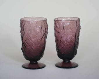 vintage purple footed juice glasses set of two