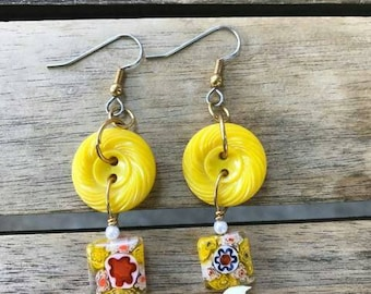 Sunshine Garden Button Earrings One of A Kind