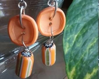 Orange Stripe Earrings One of A Kind