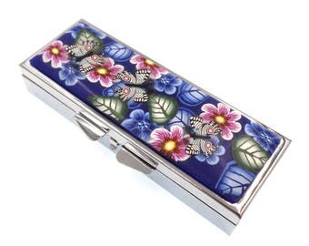 Pill Case, Handmade Polymer Clay Covered Pill Box with 3 Compartments, Flowers and Butterflies