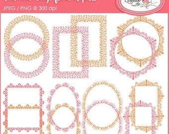 65%OFF SALE Lace frame clipart, pink and orange frames clipart, digital lace, digital frames, photo frame clipart, scrapbook frame, P118