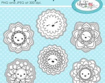 65%OFF SALE Smiling daisies digital stamps, floral digital stamps, floral line art, digital stamp sets for scrapbook and card making. DS262