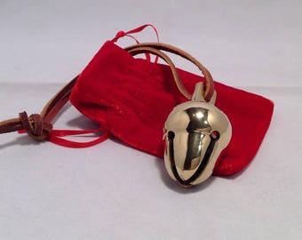 I Believe Real Brass Polar Acorn Sleigh Bell Express in Elf Deco Box