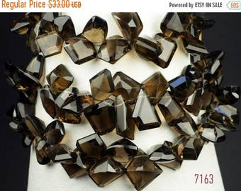 ON SALE Smoky Quartz Beads Briolettes Mixed Shapes Fancy Cut Stones Concave Backs Earth Mined Gems - 18 Beads - 10 x 9 to 13 x 10mm