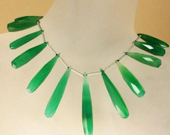 ON SALE Green Onyx Briolettes -  Long Drop Briolettes - Faceted - Emerald Green - Three Focal  Beads - About 28 x 41mm and Up