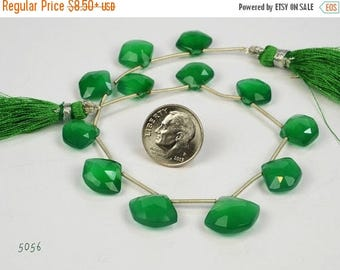 ON SALE Pair Green Onyx Pentagon Shaped Briolettes Five-Sided Beads Faceted Earth Mined - One Matched Pair - 10x12 to 12x14mm