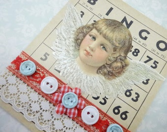 Guardian Angel Bingo Game Card Buttons Lace Trims Victorian Red Aqua Theme Decorations Vintage Inspired Handmade Keepsake