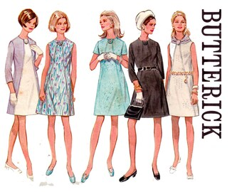 Butterick 5307 Womens Diagonal Seam Color Block A Line Dress 60s Vintage sewing pattern Size 12 Bust 34 Inches UNCUT Factory Folded
