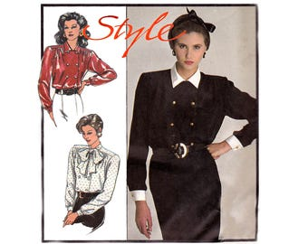 Style 1093 Womens Double Breasted Button Trimmed or Pussy Bow Blouse 80s Vintage Sewing Pattern Size 10 12 14