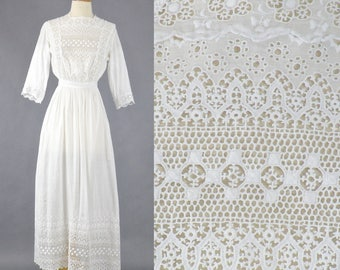 Edwardian White Tea Dress, 1910s Embroidered Cotton Eyelet Dress, Antique Day Dress, XS