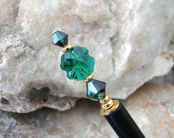 CIJ SALE Hair Stick Emerald Green Swarovski Crystal Clover Leaf Hairstick Traditional Hair Pin Shamrock Hair Chopsticks Hair Pick - Phylicia