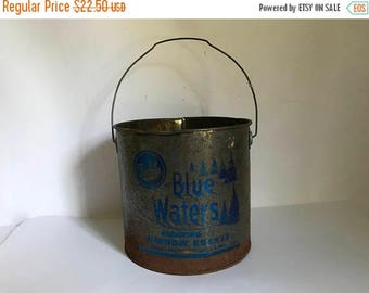Mid Century Rustic Metal Blue Waters Floating Minnow Bucket by Frabill's Mfg. in Milwaukee Wisconsin
