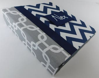 Baby Book Boy Scrapbook Baby Memory Book Pregnancy Journal personalized custom Shower Gift Navy Chevron Gray Square