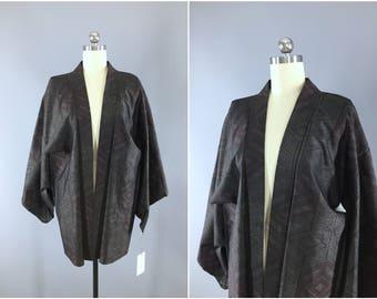 Vintage Kimono Jacket / Kimono Cardigan / Vintage Haori Jacket / Short Kimono Robe / Kimono Robe / Black