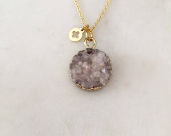 Grey Druzy Stone Necklace - Gold - Short