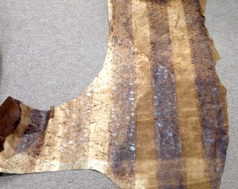 6-846.  Brown Distressed Embossed Reptile Leather Cowhide Partial