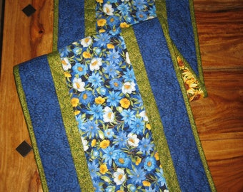 "Blue and Yellow Flowers Quilted Table Runner, Reversible Sunflower Table runner 13 x 47"" Handmade"