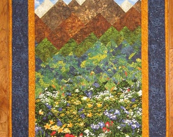 """Mountain Flowers Landscape Fabric Wall Hanging Art Quilt, Lake Tahoe Textile Art, Home Office Decor 23 x 42"""" Handmade Free Shipping"""