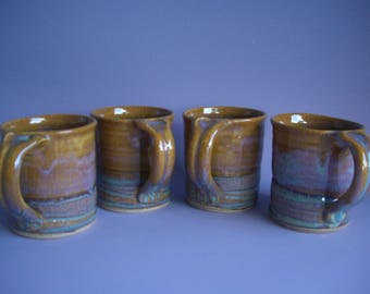 Hand thrown stoneware pottery mugs set of 4  (M-11)