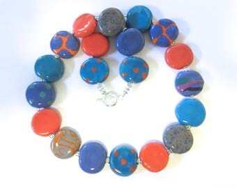 Kazuri Bead Necklace, Fair Trade Beads, Ceramic Necklace, Cornflower Blue Orange and Grey Colours
