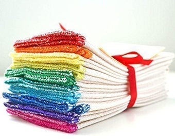 PaperLess Towels Set of 10 -- Rainbow Assortment Unbleached Birdseye Fabric 1-Ply ON SALE!